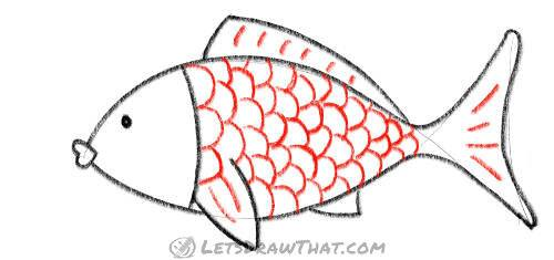How to draw a fish from two simple arcs - Add scales and details