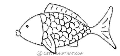 How to draw a fish from two simple arcs: completed outline