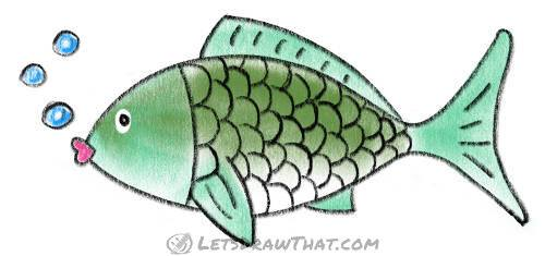 How to draw a fish from two simple arcs: finished coloured-in carp drawing