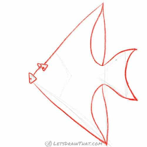 How to draw a fish from triangles - Draw the fish from the sketch