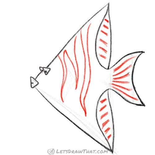 How to draw a fish from triangles - Add the stripes and detail