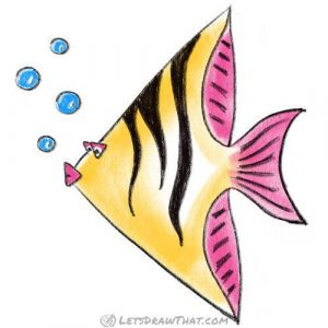 How to draw a fish from triangles - Colour in the fish