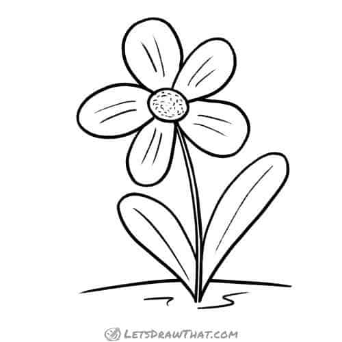 Simple flower drawing: finished outline drawing