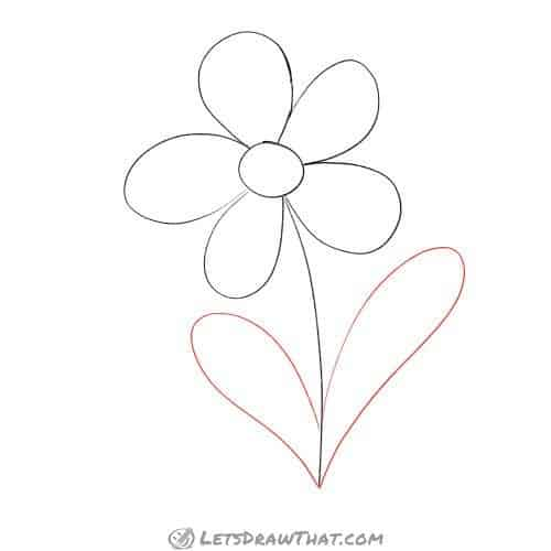 Drawing step: Draw the flower leaves