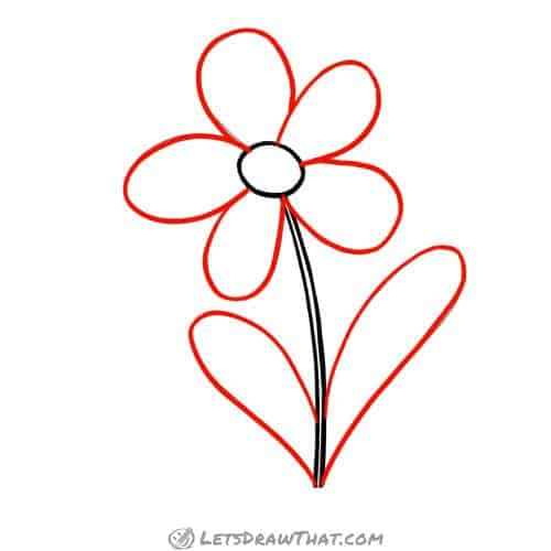 Drawing step: Outline the flower petals and the leaves