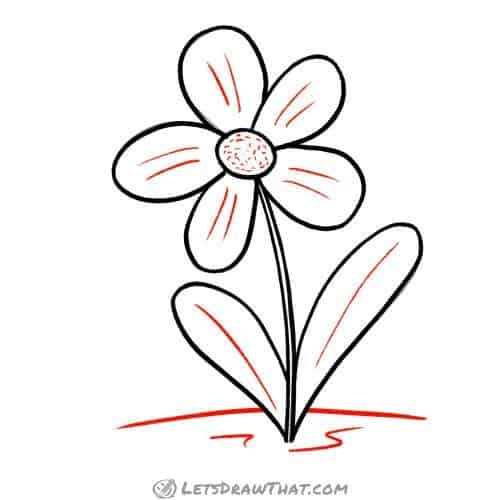 Drawing step: Add final details to the flower