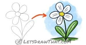Simple flower drawing: step-by-step tutorial