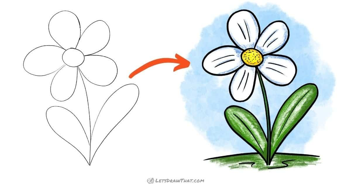 Simple flower drawing: a beautiful flower in a few easy steps - step-by-step-drawing tutorial featured image