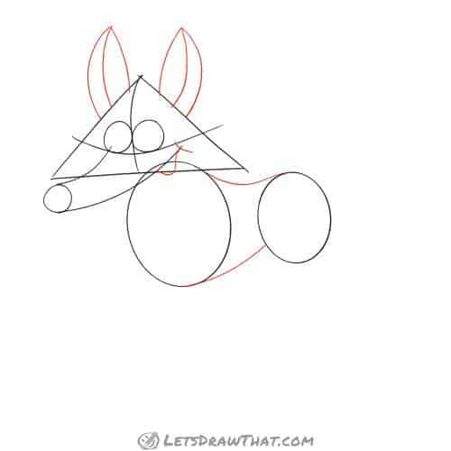 Drawing step: Draw the fox's mouth, ears and finish the body