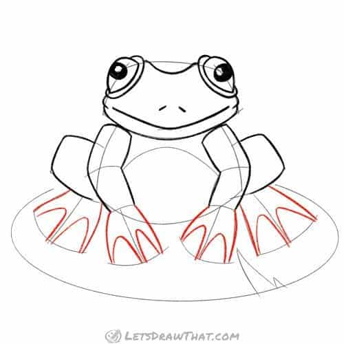 Draw the frog's webbed feet