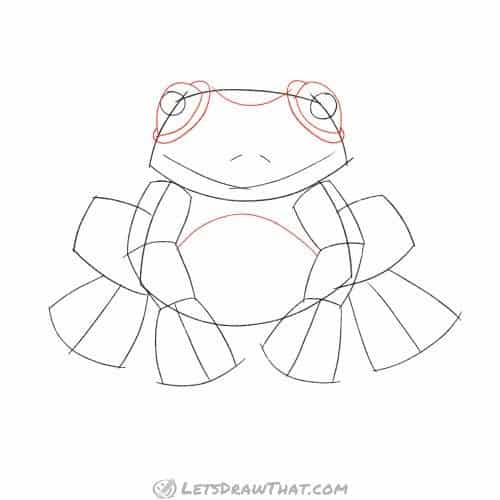 Draw the bulging frog's eyes