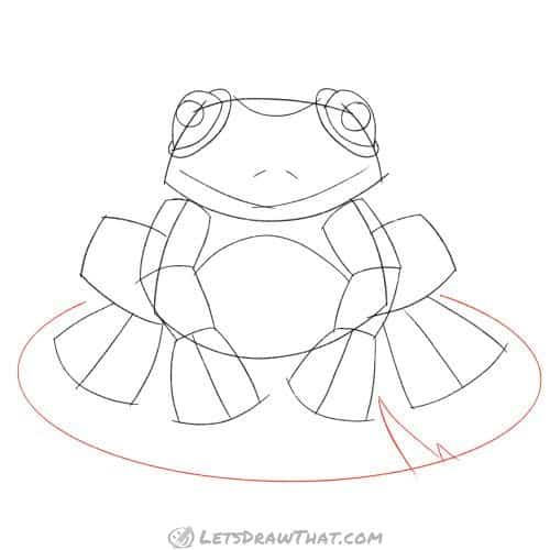 Drawing step: Draw a lily pad