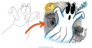 How to draw a ghost: easy step-by-step cartoon drawing