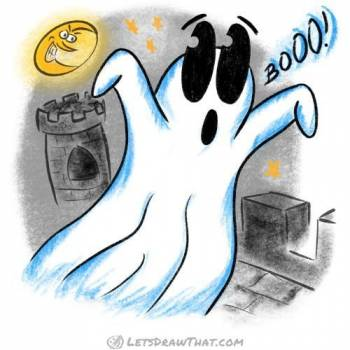 How to draw a ghost - completed coloured-in drawing with spooky old castle background