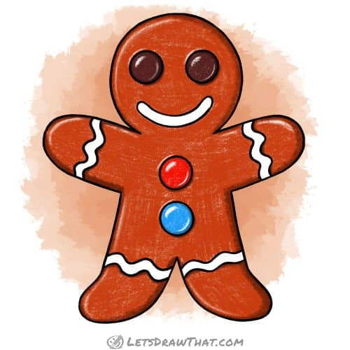 How to draw a gingerbread man: finished drawing coloured-in