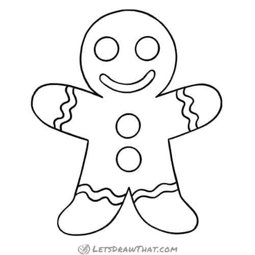 How to draw a gingerbread man: finished outline drawing