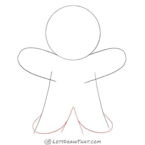 Drawing step: Draw the gingerbread man's legs and feet