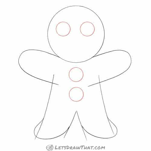 Drawing step: Draw the gingerbread man's eyes and buttons