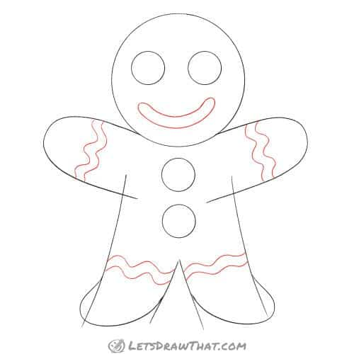 Drawing step: Draw the decorations on the gingerbread man