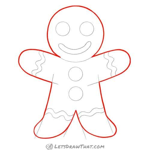 Drawing step: Draw the gingerbread man cookie outline