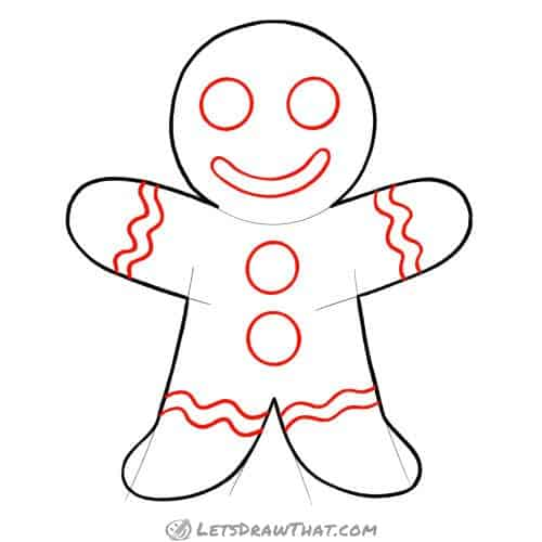 Drawing step: Draw the gingerbread man decorations