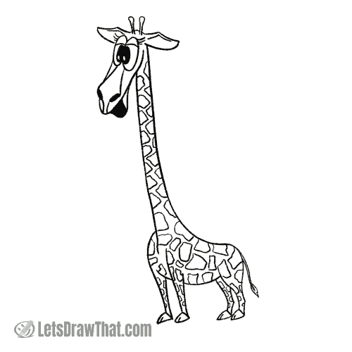 How to draw a giraffe: finished outline drawing
