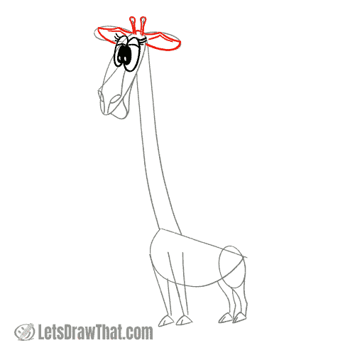 Drawing step: Draw the giraffe's ears and horns