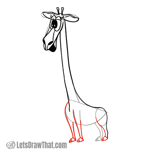 Drawing step: Draw the giraffe's legs and hoofs