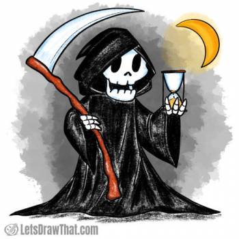 How to draw the Grim Reaper: finished drawing coloured-in