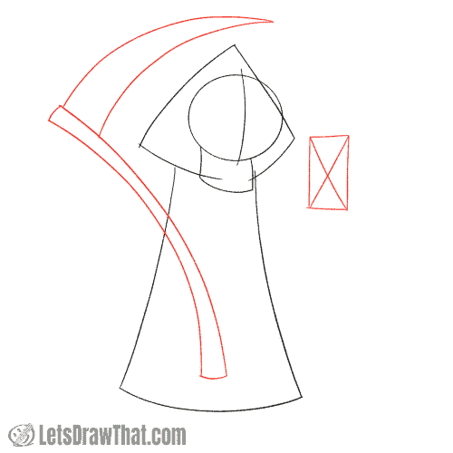 Drawing step: Sketch the scythe and hourglass