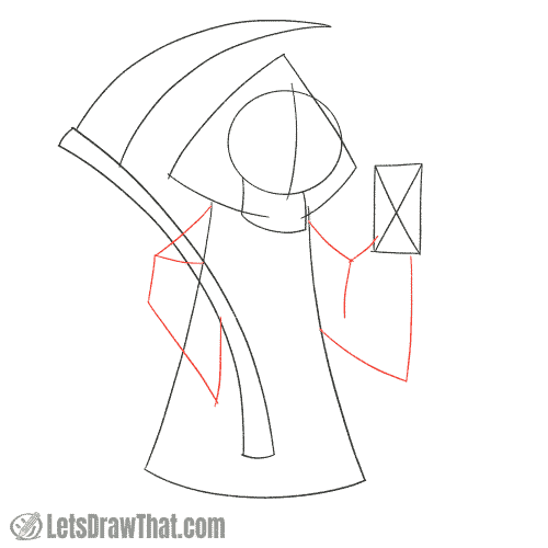 Drawing step: Sketch the Grim Reaper's arms