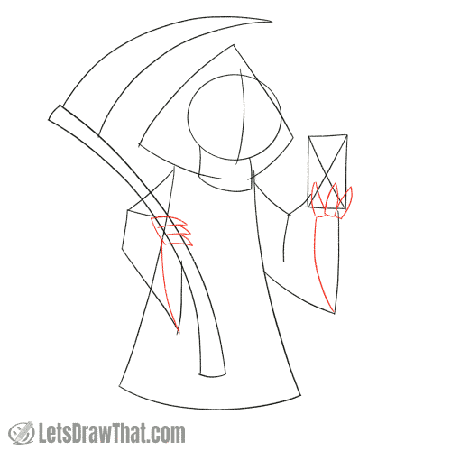 Drawing step: Sketch the hands and robe details