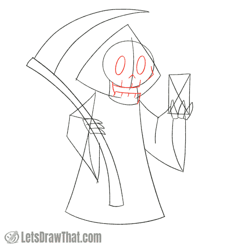 Drawing step: Sketch the Grim Reaper's face