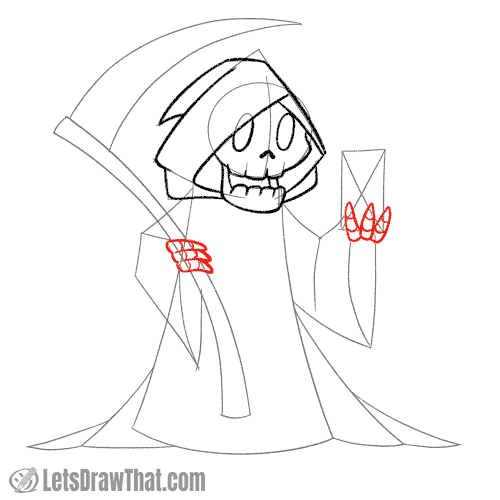 Drawing step: Draw the Grim Reaper's hands