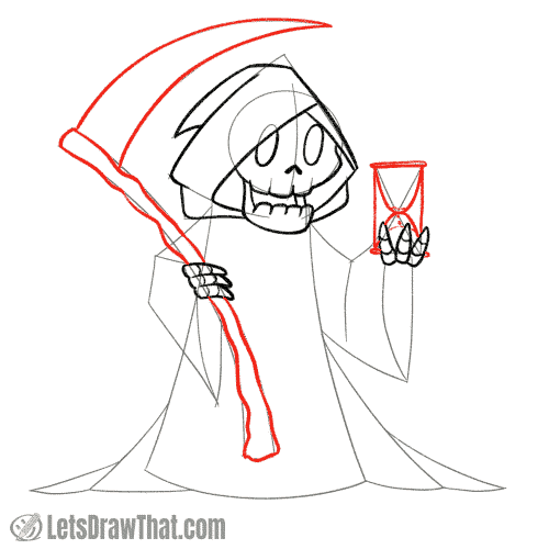 Drawing step: Draw the scythe and hourglass