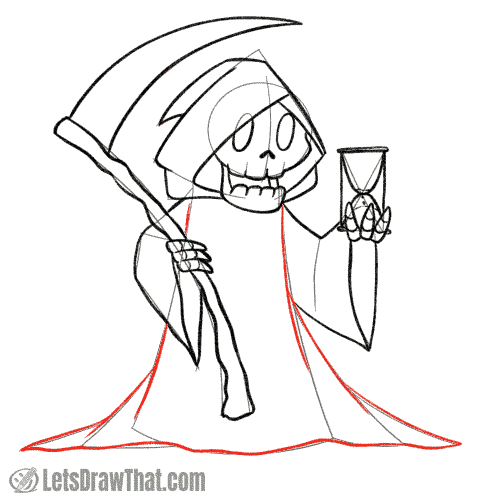 Drawing step: Draw the rest of the Grim Reaper's robes