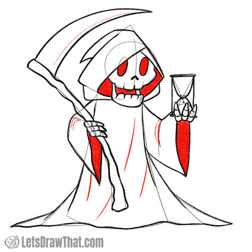 Drawing step: Shade in the inside of the robes and add final details