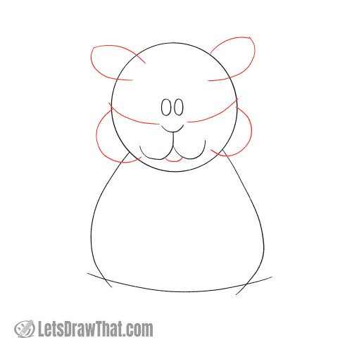 Drawing step: Sketch the hamster's ears and cheeks