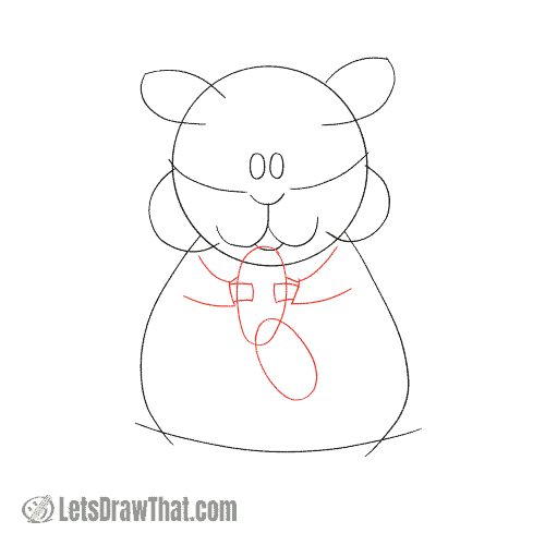 Drawing step: Sketch the hamster's arms and hands