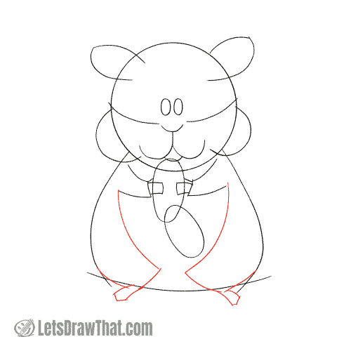 Drawing step: Sketch the hamster's legs and feet