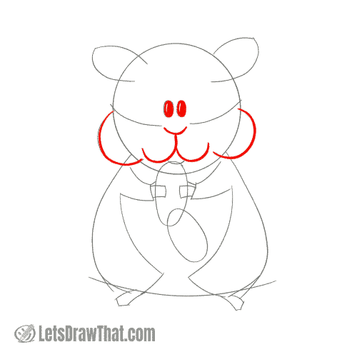 Drawing step: Draw the hamster's face and cheeks