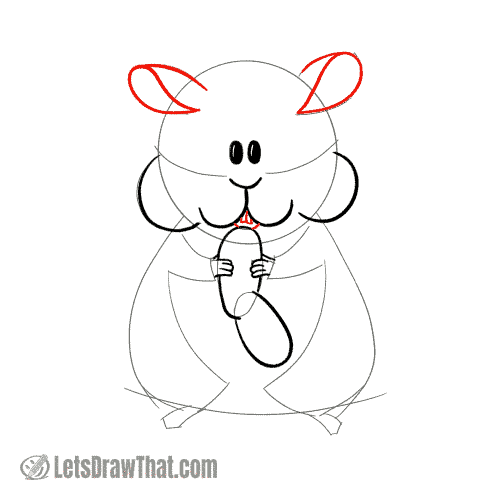 Drawing step: Draw the hamster's ears and mouth