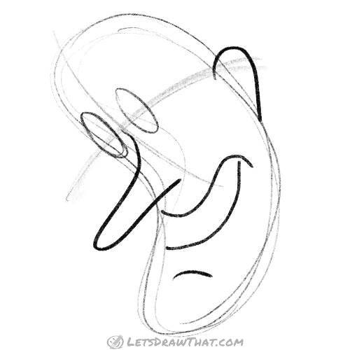 Drawing step: Sketch the eyes, nose, mouth and ear
