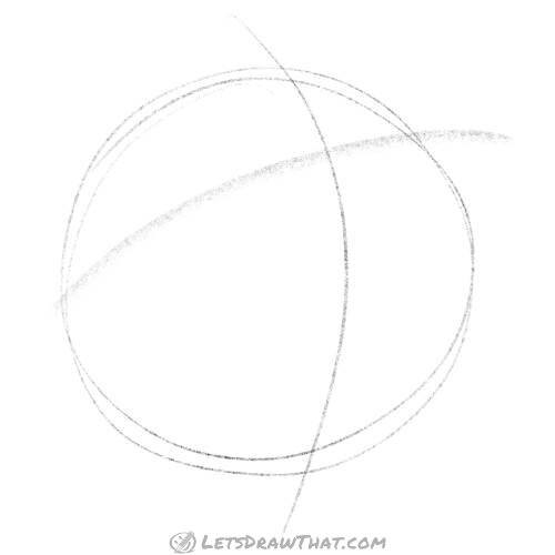 Drawing step: Sketch the circle and face cross