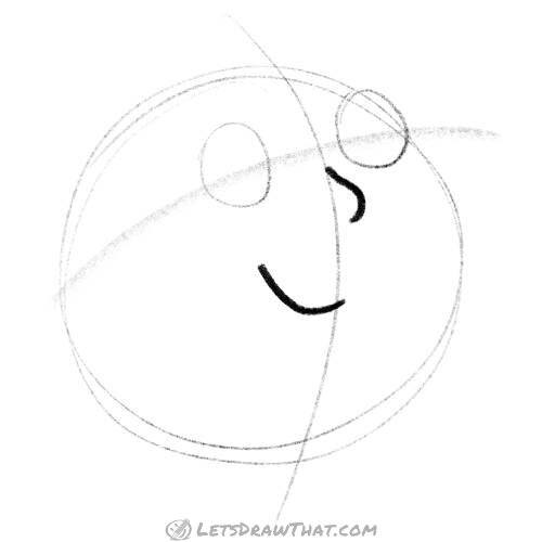 Drawing step: Place the face features – eyes, nose and mouth