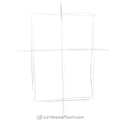 Drawing step: Sketch the rectangle and face cross