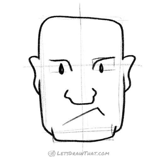 How to draw a square head for a strong man