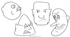 How to draw heads from simple shapes - step by step drawing tutorial