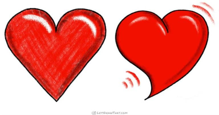 How to draw a heart: 2 ways, one simple, one bold - step-by-step-drawing tutorial featured image