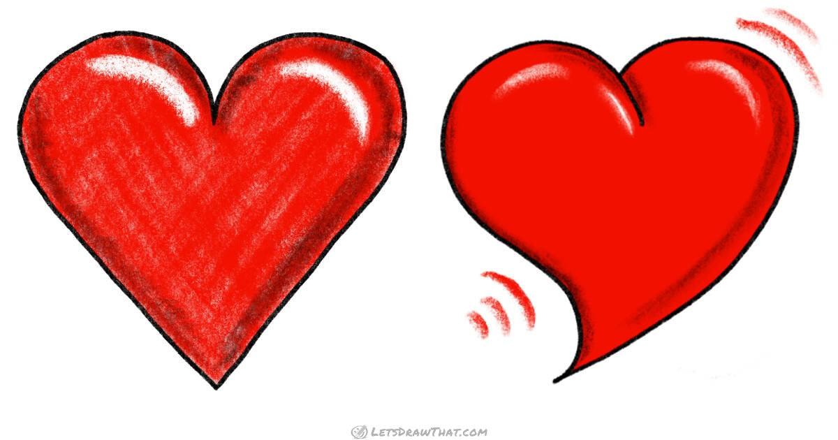 How to draw a heart: 2 ways, including shading - step by step drawing tutorial